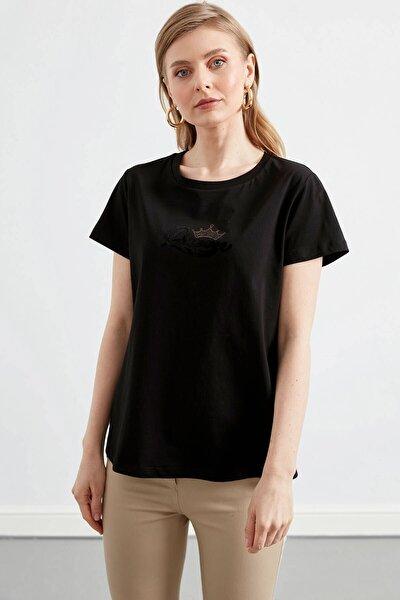 Kadın Siyah Ön Baskı Detaylı Penye Bluz