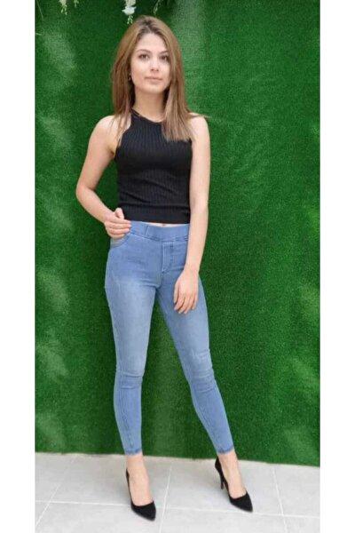 Kadın Tırtıklı Yüksek Bel Açık Mavi Tayt Pantolon
