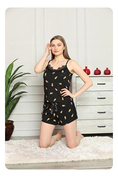 Kadın Siyah Sarı Askılı Mini Şortlu Ananas Desenli Pijama Takımı 80116-8