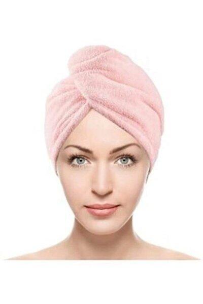 Bella Düğmeli Havlu Pembe Saç Kurulama Bonesi Vtx102