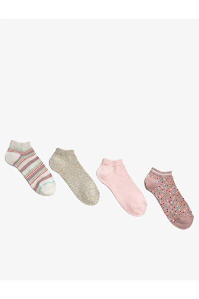 Kadin 4'lü Pamuklu Desenli Çorap Seti