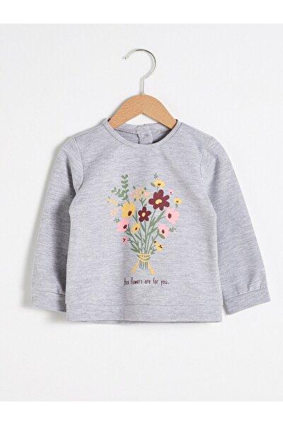 Kız Bebek Gri Melanj Sweatshirt