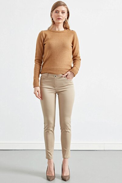 Kadın Taş Rengi Düz Pantolon