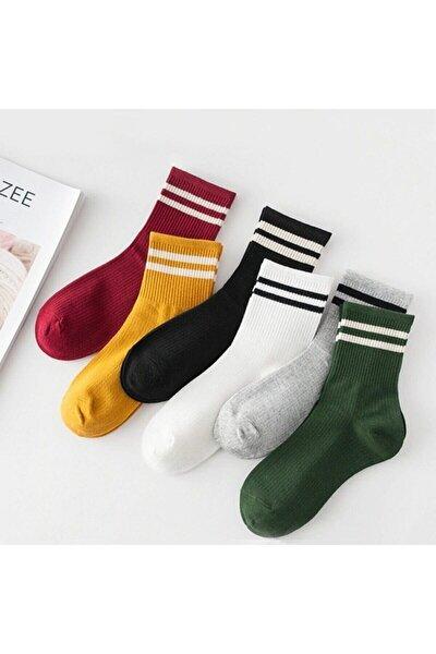 Unisex Kadın 6' Lı Karışık Renkli Çizgili Tenis Çorabı