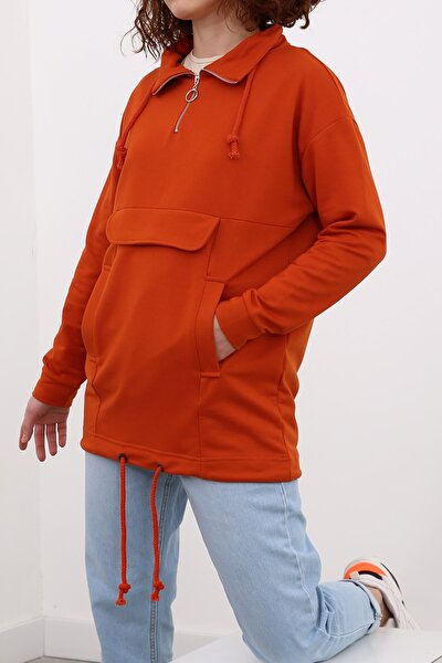 Turuncu Bağcık Detaylı Sweatshirt