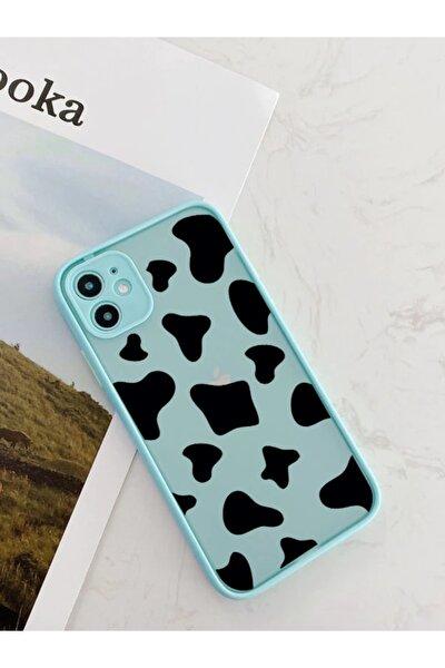 Iphone 11 Uyumlu Su Yeşili Kamera Lens Korumalı Inek Desenli Lüx Telefon Kılıfı