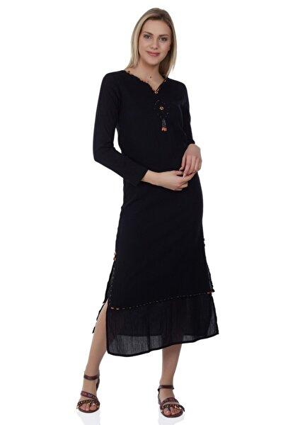 Büyük Beden Uzun Kol Şile Bezi Boncuklu Elbise Siyah
