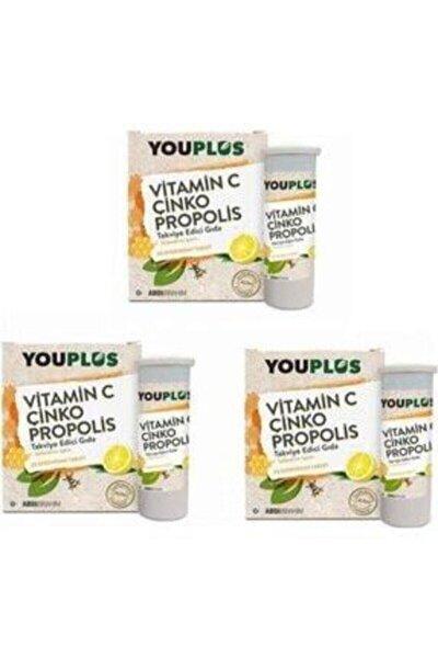 3 Adet Youplus Vitamin C,çinko,propolis Efervesan Tablet Takviye Edici Gıda