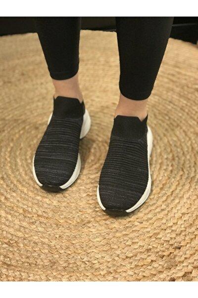 Kadın Siyah Bağcıksız  Triko Spor Ayakkabı