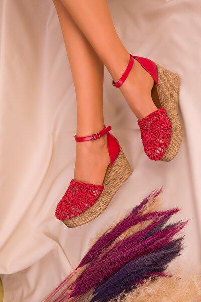 Kırmızı Kadın Dolgu Topuklu Ayakkabı 16041