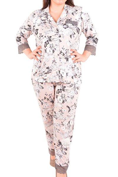 Ekru Kadın Pijama Takımı 3/4 Kol Düğmeli Büyük Beden