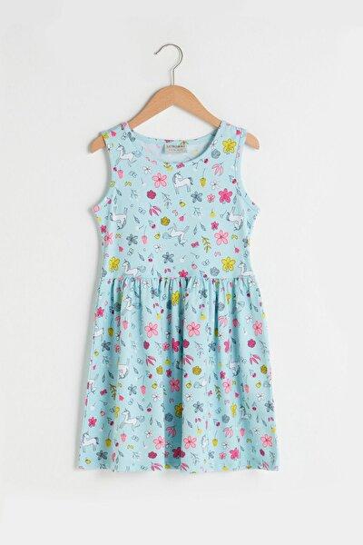 Kız Çocuk Açık Turkuaz Bas Ltu Elbise