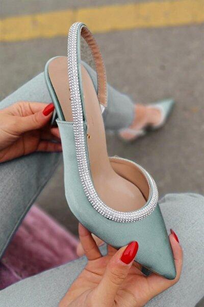 End Saten Şerit Taş Detaylı Arka Açık Mint Yeşili Alçak Topuklu Ayakkabı