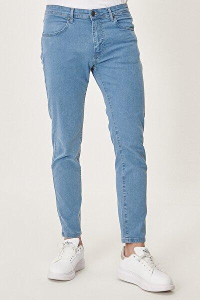 Erkek Buz Mavisi Slim Fit Dar Kesim Denim Esnek Jean Kot Pantolon