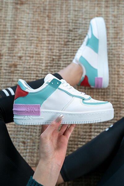 Kadın Beyaz Yeşil Günlük Spor Ayakkabı