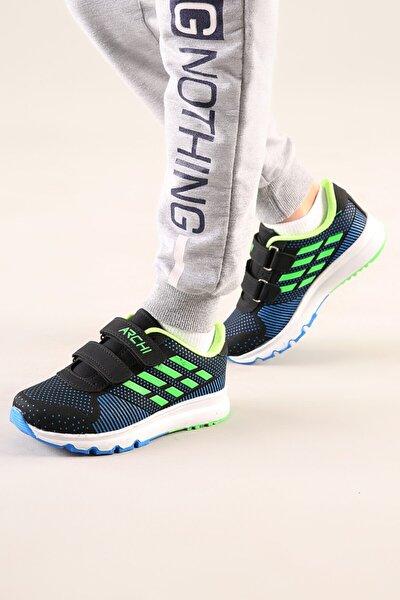 Çocuk Siyah-yeşil Anatomik Taban Günlük Spor Ayakkabı