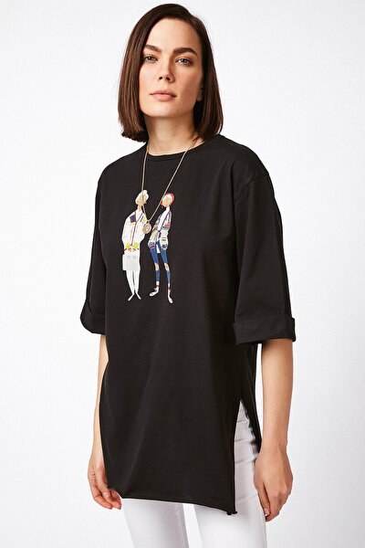Kadın Siyah Tunik Boy Penye T-shirt ZV00138