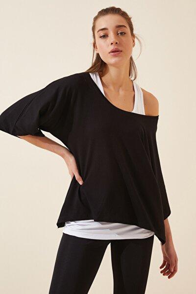 Kadın Siyah Beyaz Atletli Salaş İkili T-shirt ZV00136