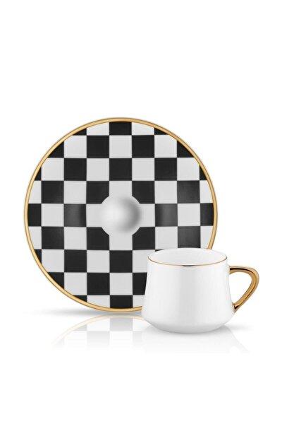 Koleksiyon Sufi Türk Kahve Seti 6 Lı Dama Siyah Beyaz Bulk