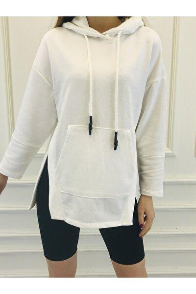 Kadın Beyaz Ipli Kapüşonlu Yanları Kesik Kanguru Cepli Sweatshirt