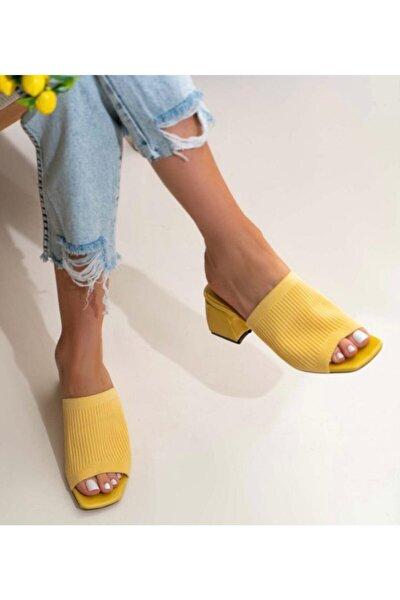 Sarı Topuklu Triko Terlik