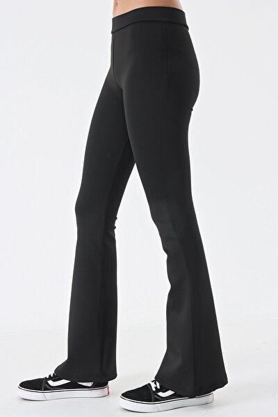 Siyah Dalgıç Kumaş Tayt Pantolon
