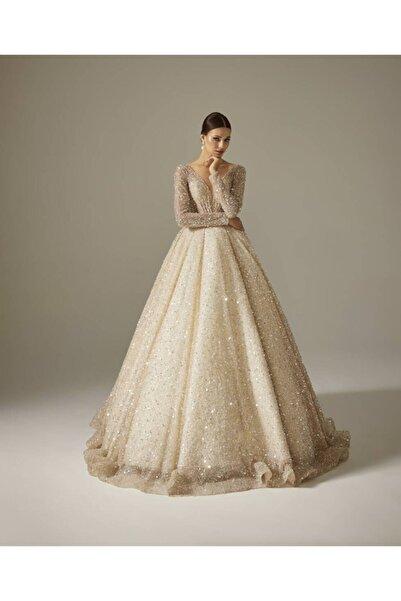 Luxe Tene Gümüş Boncuk Kasnak Işi Prenses Gelinlik Modeli