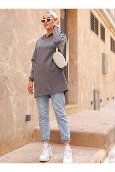 Kadın Kapüşonlu Sweatshirt- Koyu Gri -