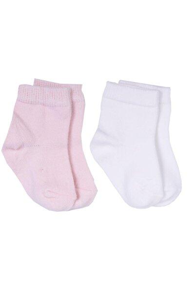 95675 2'Li Organik Bebek Çorabı Beyaz-Pembe 12-18 Ay