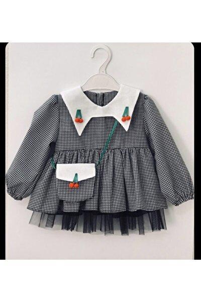 Kirazlı Siyah Pötikare Elbise