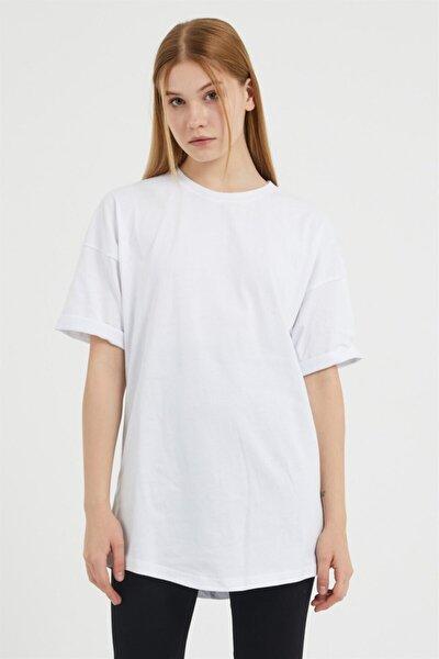 Kadın Beyaz Oversize Basic T-Shirt