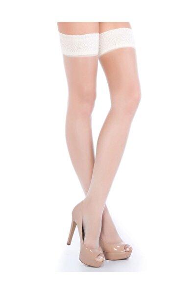 Kadın Beyaz Fantezi Jartiyer Çorabı