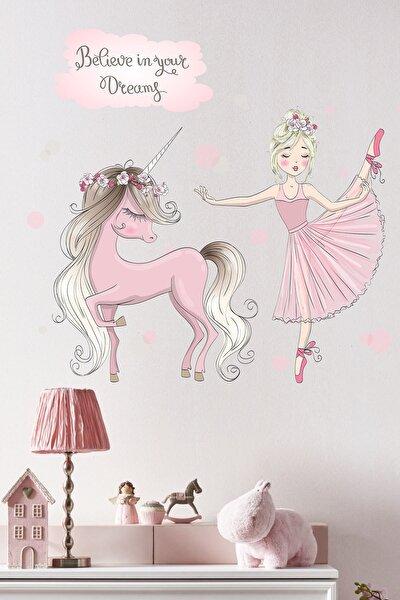 Balerin ve Unicorn Çocuk Odası Sticker