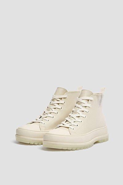 Kadın Beyaz Kauçuk Burunlu Yüksek Bilekli Spor Ayakkabı 11202740