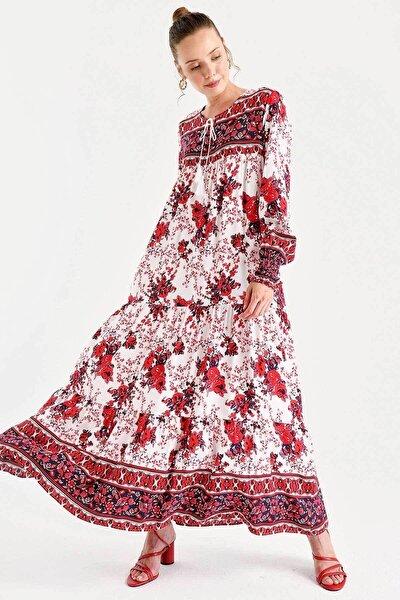 Kadın Kırmızı Kol Büzgülü Robalı Çiçek Desenli Elbise
