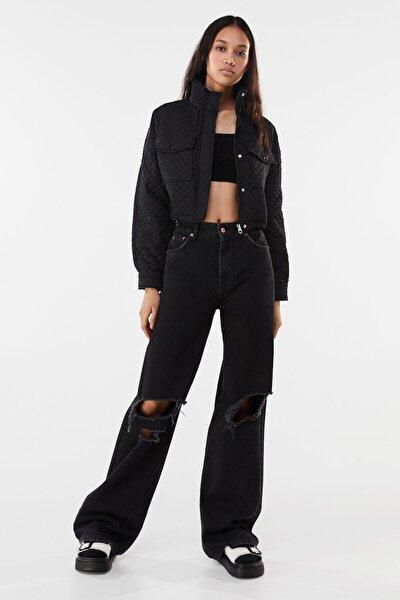 Kadın Siyah Naylon Crop Ceket