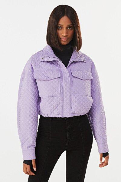 Kadın Mor Naylon Crop Ceket