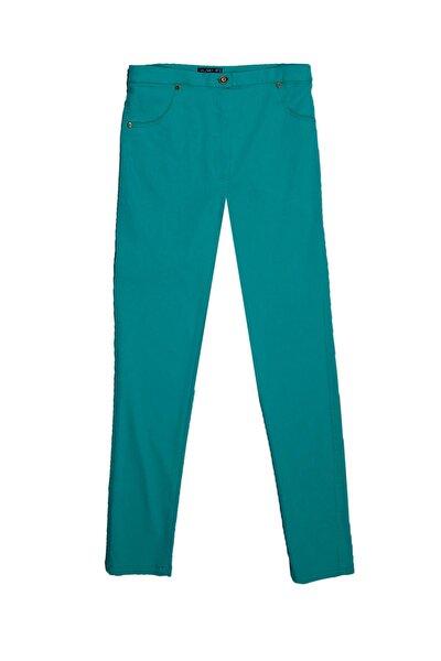 Kadın Yeşil Büyük Beden Gabardin Pantolon 42-54 Tvd-4065