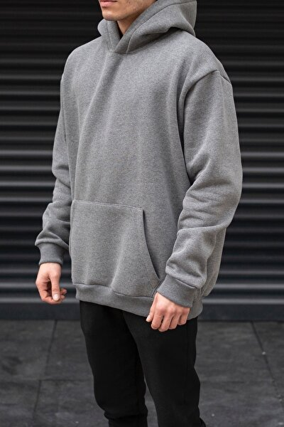 Erkek Oversize Kanguru Cepli Füme Hoodie Sweatshirt
