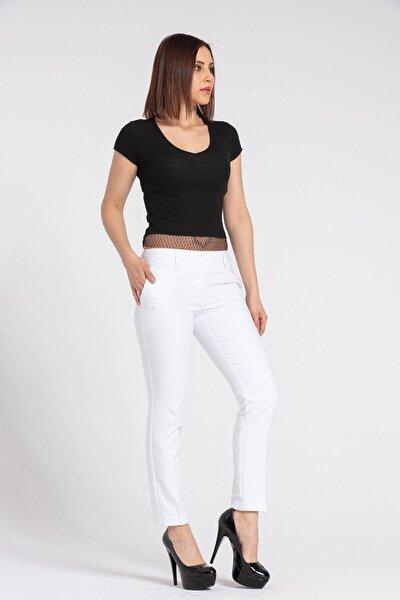 Kadın Hafif Düşük Bel Cepli Duble Paça Ofis Likralı Kumaş Pantolon-beyaz