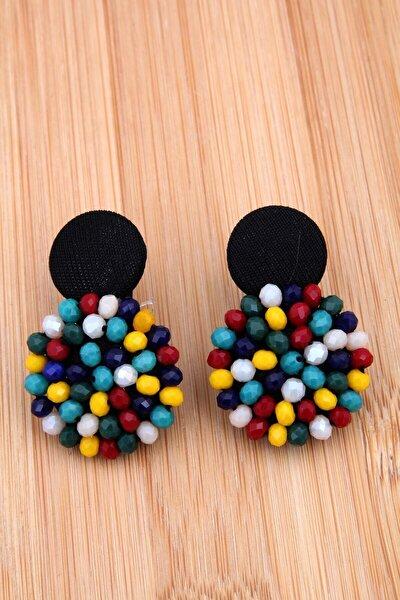 Kadın Renkli Kristalli Tasarım Düğme Küpe