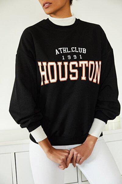 Kadın Siyah Baskılı Polarlı Sweatshirt 1KZK8-11232-02