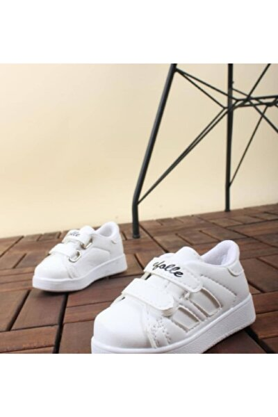 Efl Bebek Beyaz Spor Sneaker Günlük Cırtlı Spor Ayakkabı