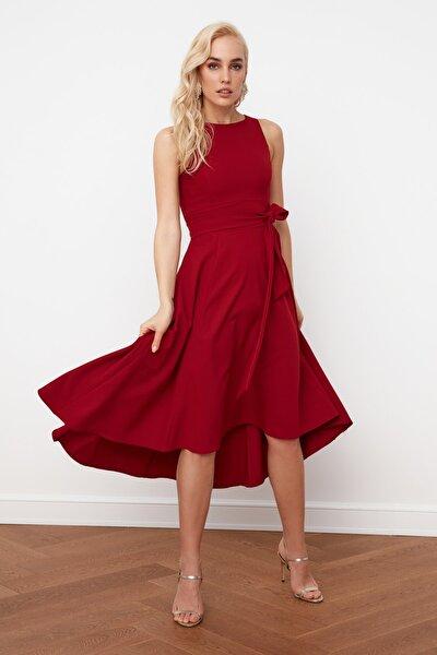 Bordo Kuşaklı Elbise TPRSS19FZ0068