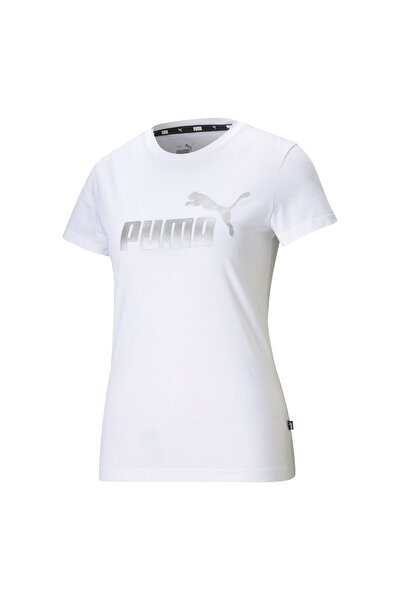 Ess Metallic Logo Tee Kadın T-shirt Whıte-sılver 586890-02