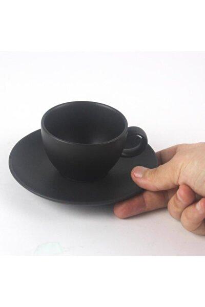 2 Kişilik Siyah Zeugma Çay Fincanı Ve Tabağı