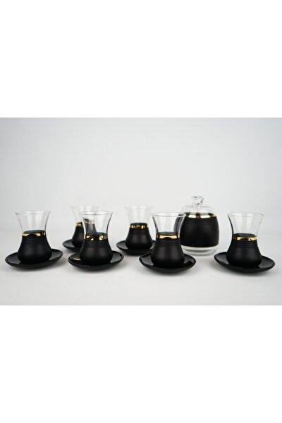 Gerçek Altın Detaylı Kesme Mat Siyah Çay Bardağı Seti 13 Parça