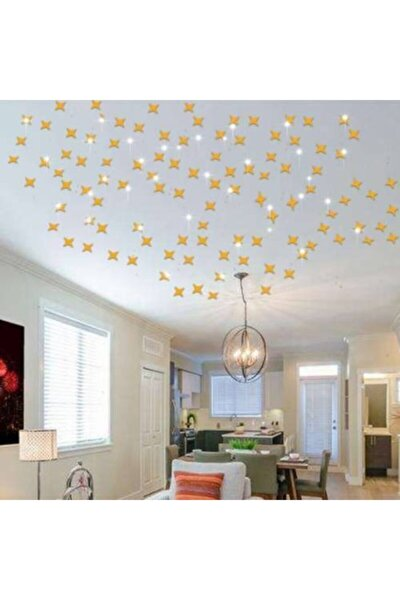 Dekoratif Gold Ayna 50adet Altın Yıldız Tavan Duvar Pleksi Çift Taraflı Bant Gökyüzü 11*10 Ve 6*5cm