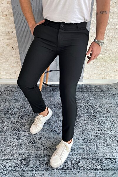 Erkek Siyah Kumaş Pantolon