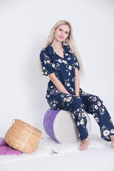 Kısa Kollu Gömlek Yaka Düğmeli Pijama Takımı Dokuma Lacivert Çiçek